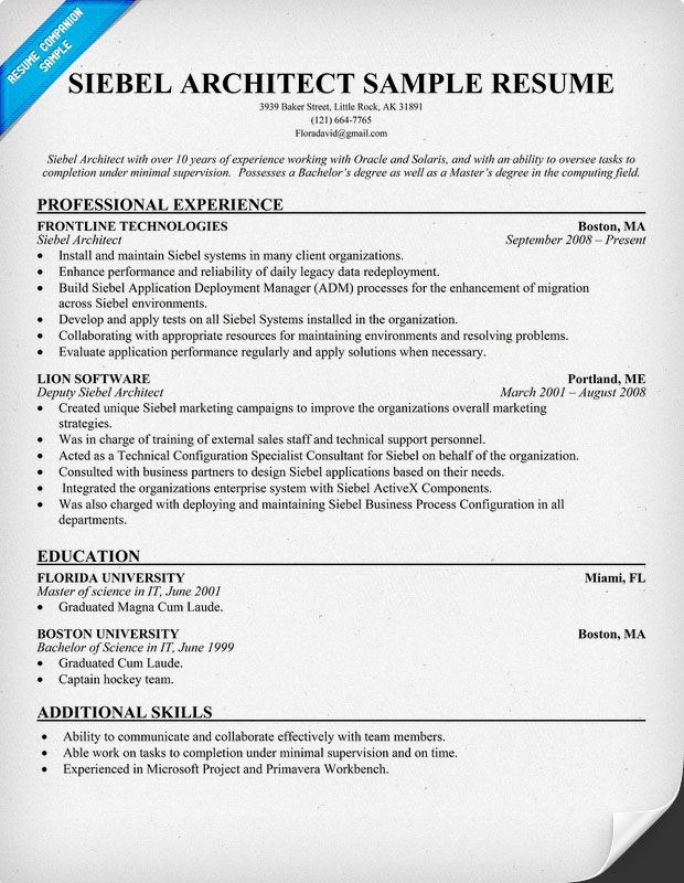 siebel architect resume  resumecompanion com