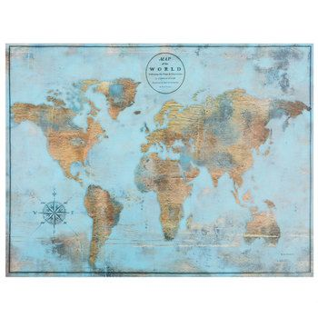 Blue gold world map canvas wall decor home decor ideas blue gold world map canvas wall decor hobby lobby 5816319 gumiabroncs Images