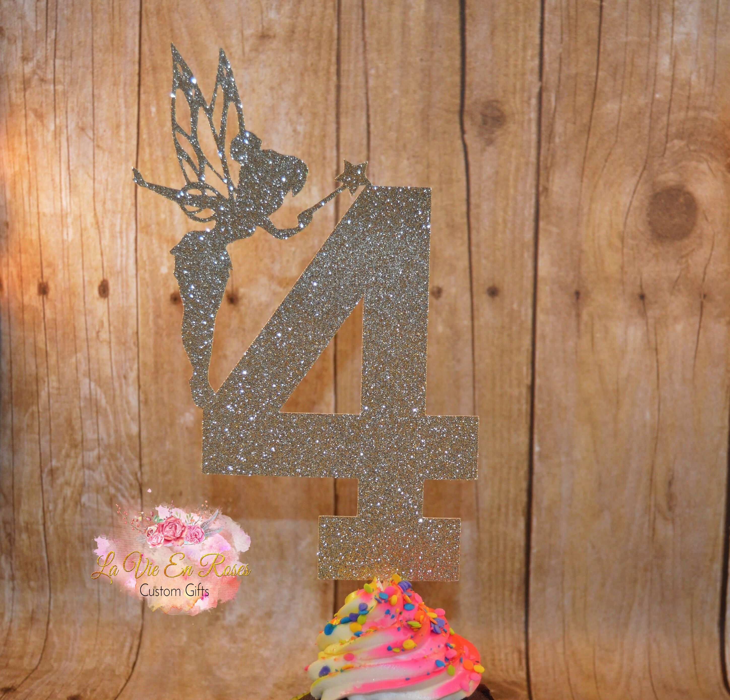 Personalised Tinkerbelle Fairy shape Birthday Cake Glitter Card Topper Name//Age