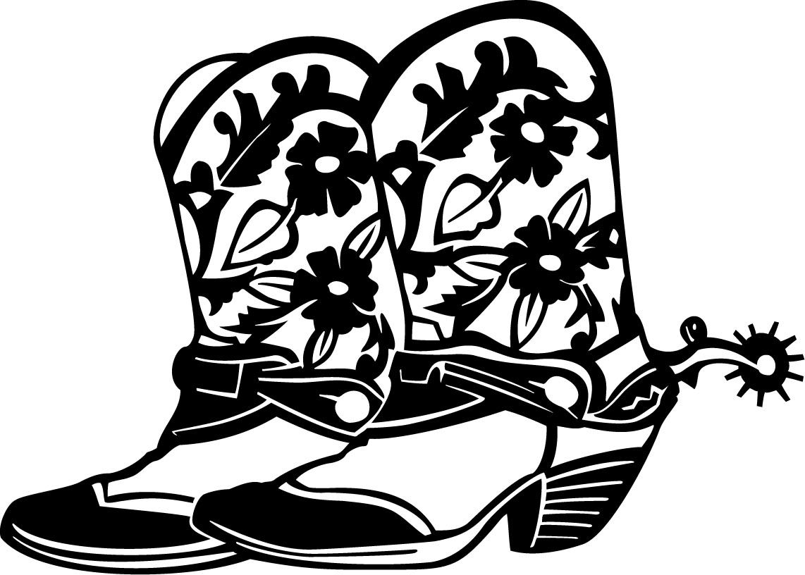 Cowboy Floral Boots Custom Wall Graphics ClipArt Best - Cool custom vinyl decals for cars