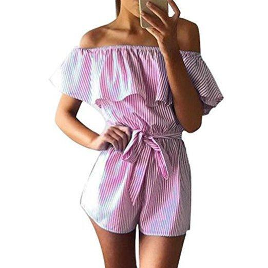 60adfc7147f Summer 2018 Women Strapless Playsuit Striped Rompers Ruffles Sleeve  Jumpsuit Backless Sexy Overall Casual Beach Short Pants