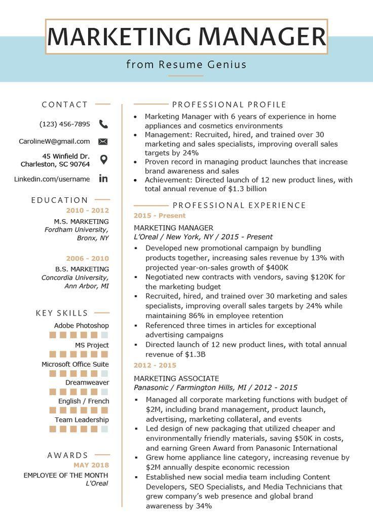 Marketing communications resume marketing communications