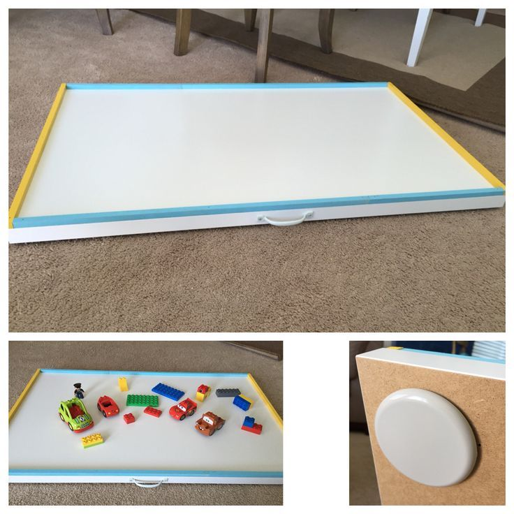 DIY sliding Lego or train etc table Easy to store under the bed and pull out
