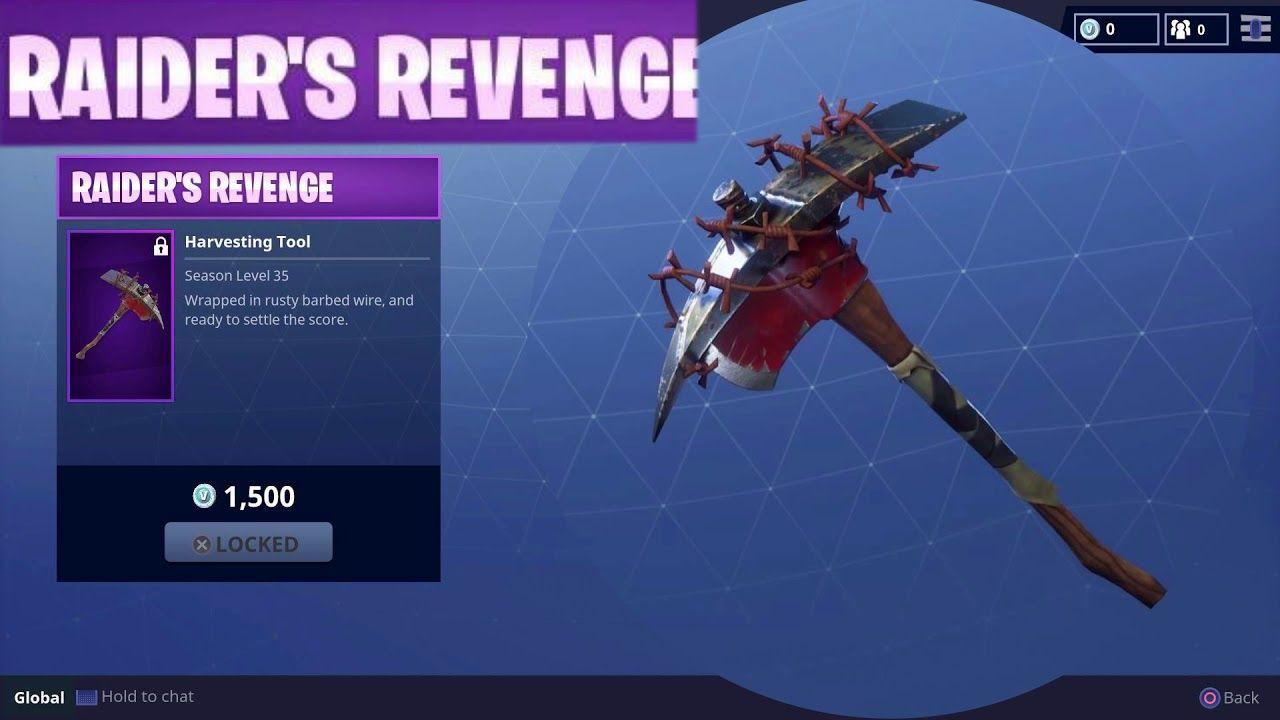 raider s revenge harvesting tool pickaxe skin season 1 item fortnite battle royale video game fortnite battleroyale fnbr - fortnite 500 v bucks pickaxe