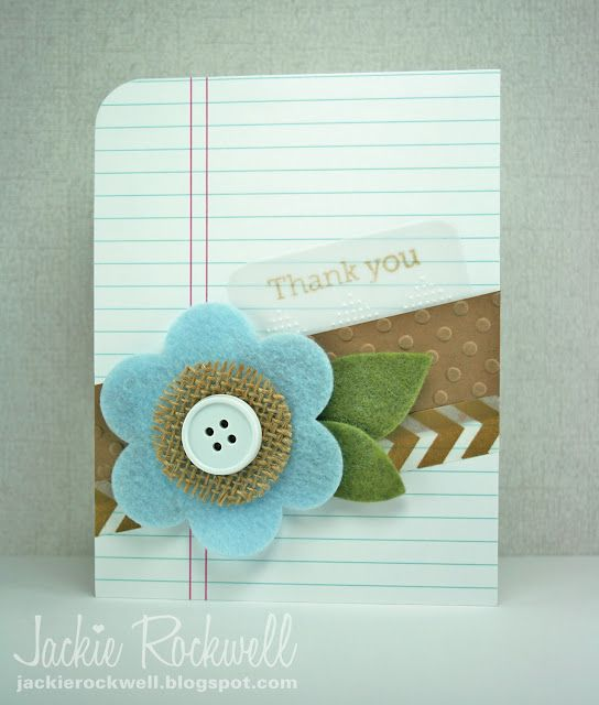 card single big flower felt button Rockwell Designs (blog) - diagonal, felt flower, button, burlap paper & fabriccard