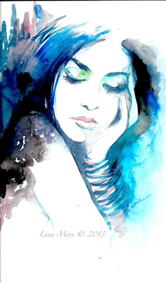 Original Watercolor Painting Artwork Woman Fashion Illustration