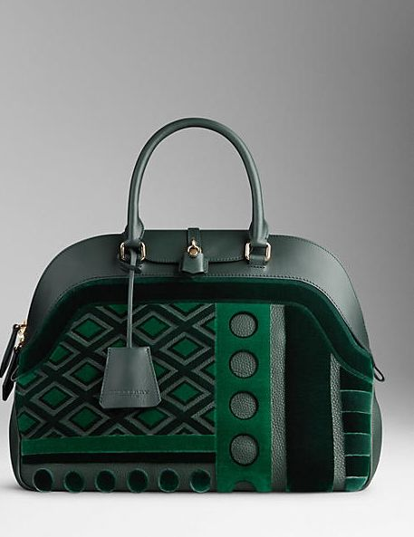 LARGE VELVET AND LEATHER BOWLING BAG