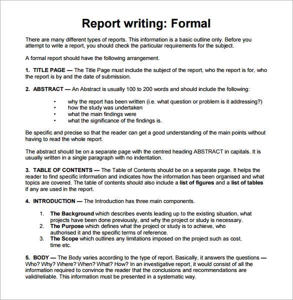 Sample Report Writing Format - 31+ Free Documents in PDF - formal report format template