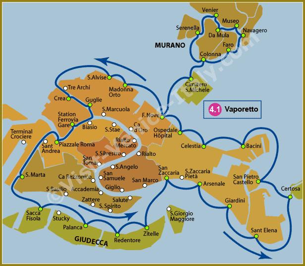 Venedig Karte.Line 4 1 Water Bus Vaporetto In Venice Venedig In 2019