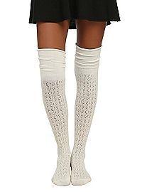 HOTTOPIC.COM - LOVEsick Cream Pointelle Knit Over-The-Knee Socks