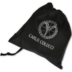 Elegante cinturón de cuero liso con logo en relieve, negro Carlo ColucciCarlo Colucci