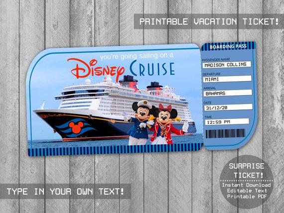 Disney Cruise Ticket Printable Boarding Pass Editable File Disney Surprise Trip Vacation Disneyland Ticket Cruise Tickets Disney Trip Surprise Disney Cruise