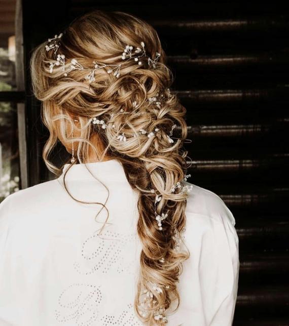 Extra Long Hair Vine Bridal Hair Vine Crystal and Pearl Hair | Etsy