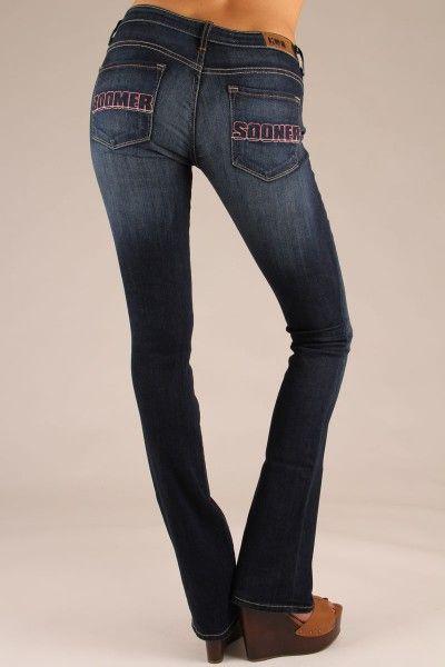 Oklahoma Sooners Boomer Sooner Jeans Bootcut in Deep ...
