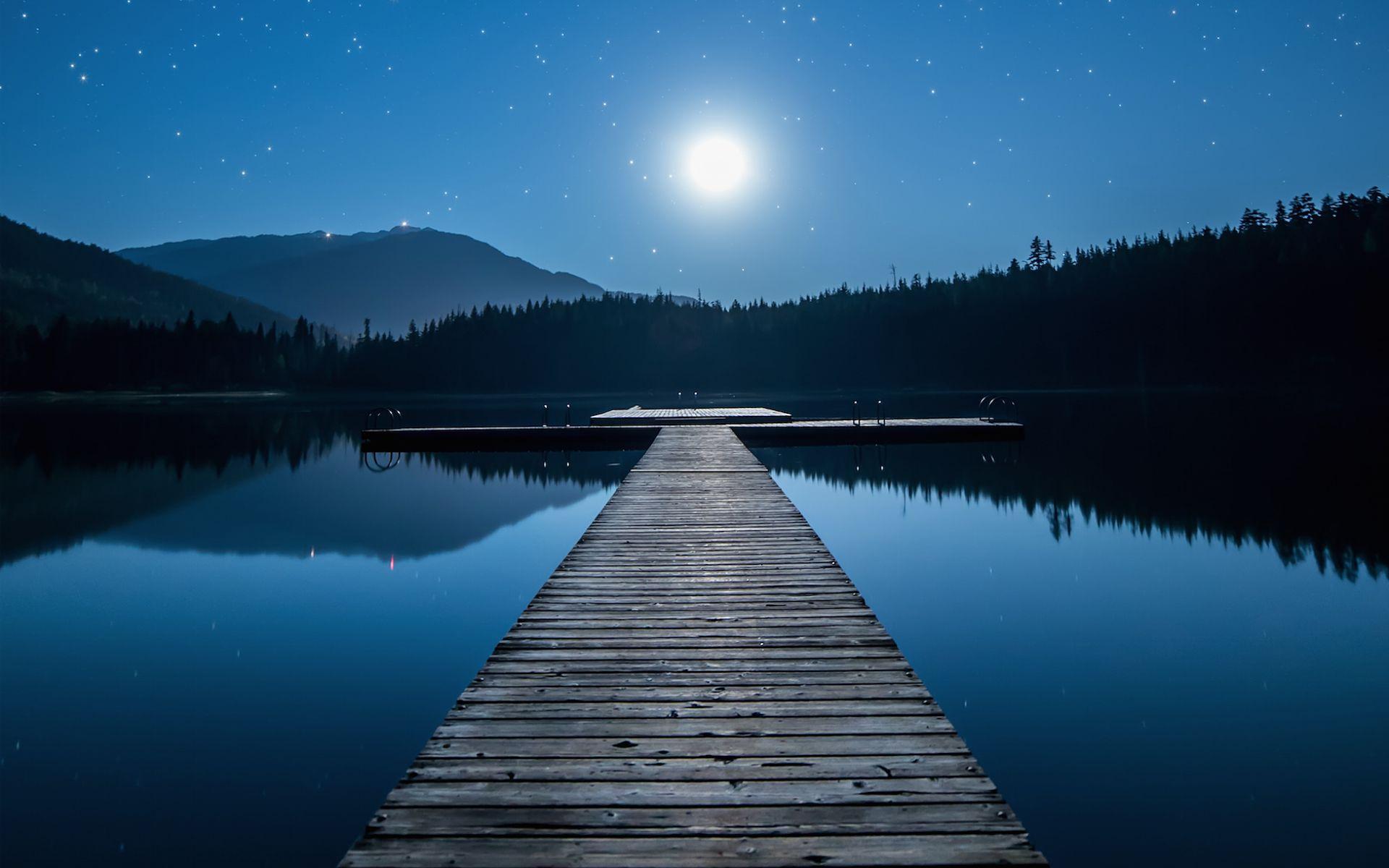 Cool canada moonlit blue lake jetty desktop 3d wallpaper for 3d wallpaper canada