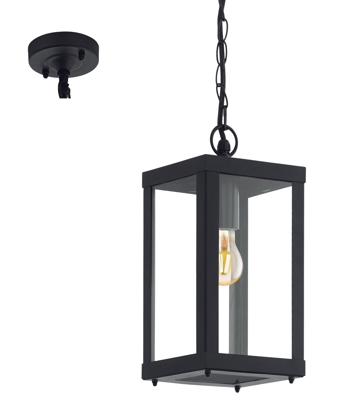 Black Square Exterior Hanging Porch Lantern Outdoor Pendant Lighting Exterior Pendant Lights Porch Lanterns
