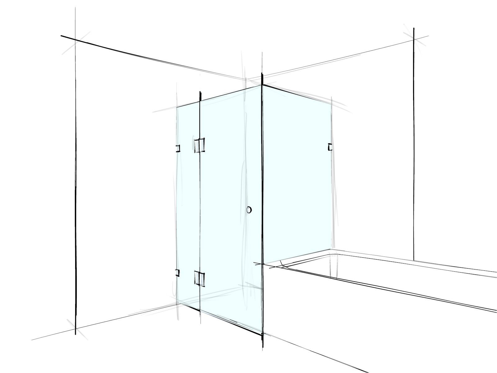 custom frameless shower screen square corner set in over a bath custom frameless shower screen square corner set in over a bath