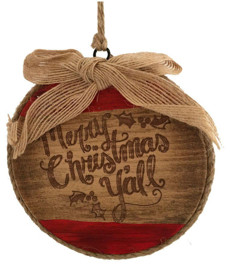 Large Merry Christmas Y\u0027all Round Ornament Ornament, Rounding and