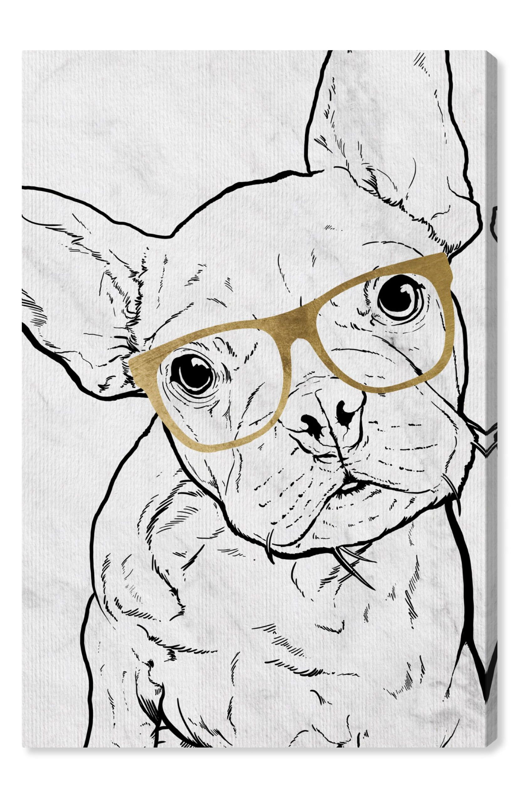 Oliver gal frenchie with gold glasses canvas wall art