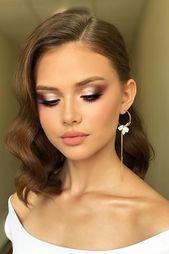 Photo of Wedding makeup 2019 dusty pink smoky eyes arrows matte bare lip …
