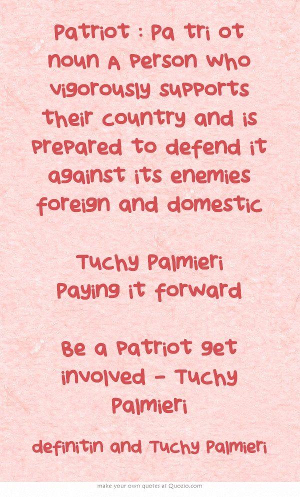 Patriot  Pa tri ot noun A person who vigorously supports their - tri words