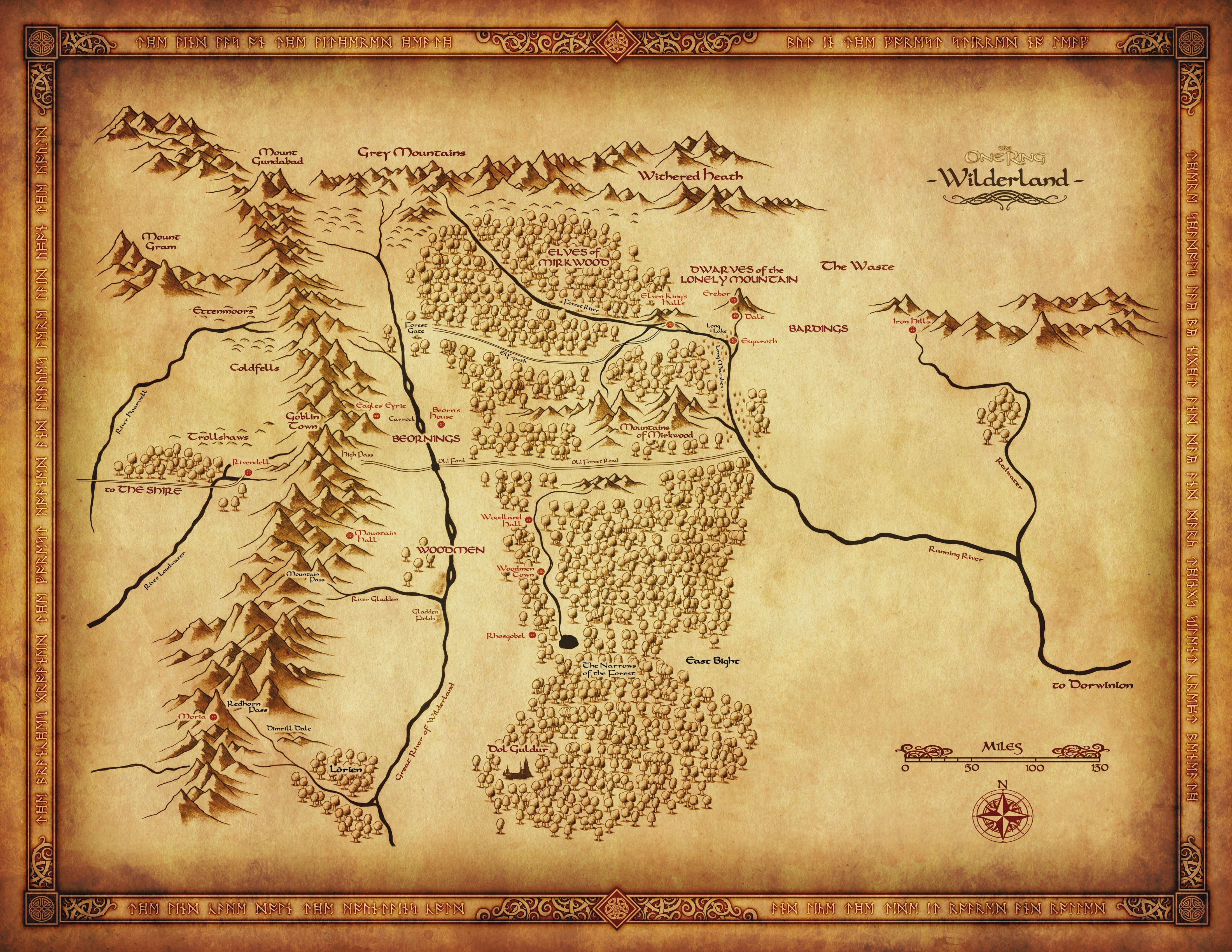 Map Of Wilderland From Cubicle 7 The One Ring In 2019 Middle