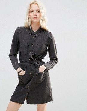 816952ef258 ASOS Denim Belted Shirt Dress in Washed Black