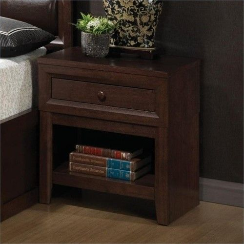 bowery hill nightstand with drawer in chery coaster furniture pinterest