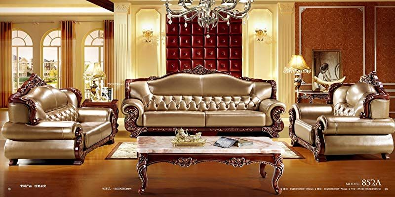 Amazon Com Ma Xiaoying Solid Wood Frame Carved By Hands Leather Traditional Collection Living Luxury Sofa Living Room Living Room Sofa Set Living Room Sets