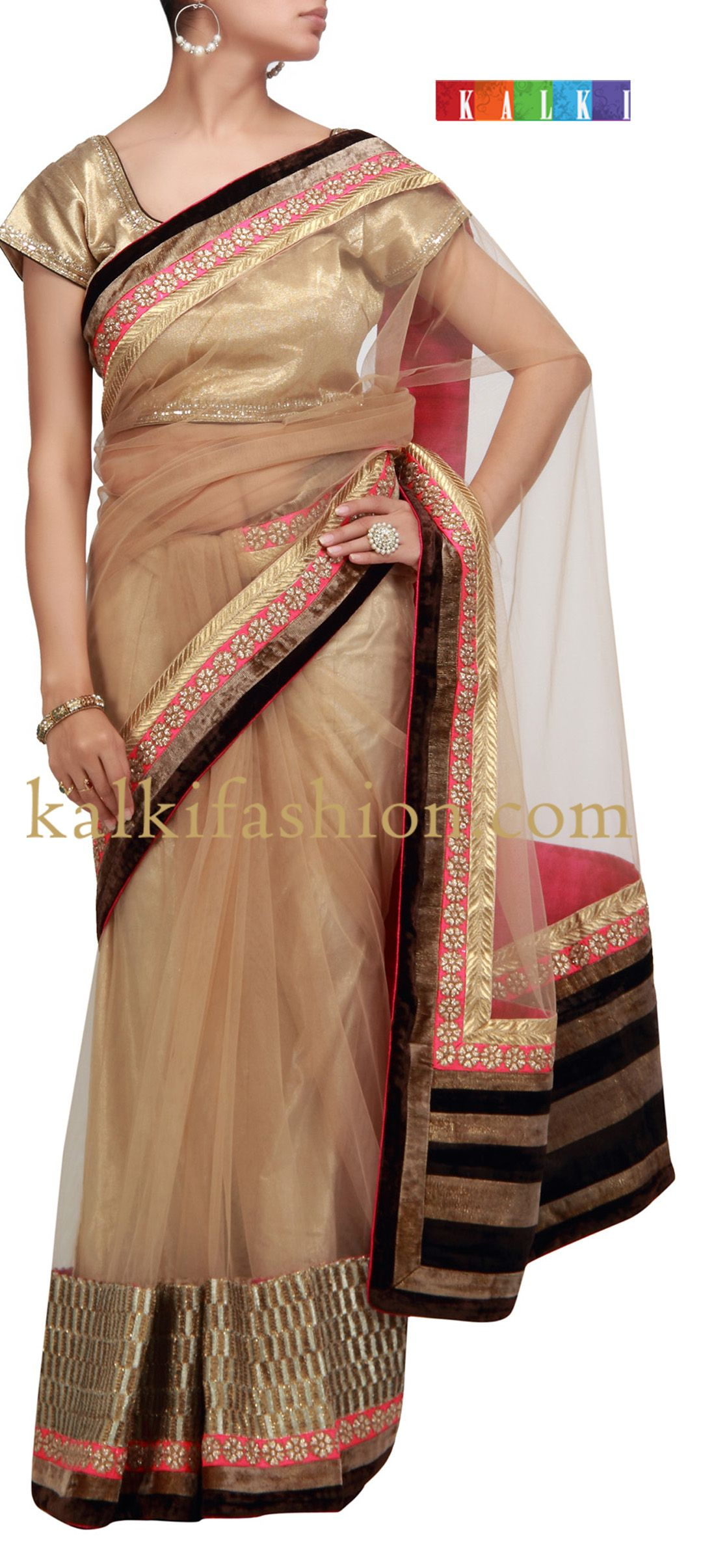 Net saree images buy it now kalkifashionbrownnetsareewithsequence