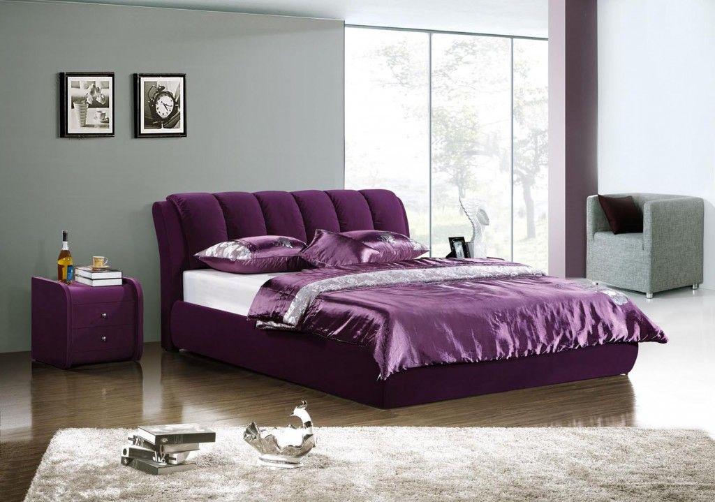 Purple Elegant Modern Bed Queen Size Queen beds, Leather