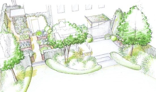 jardin de lotissement croquis terrasse arri re landscape business pinterest. Black Bedroom Furniture Sets. Home Design Ideas