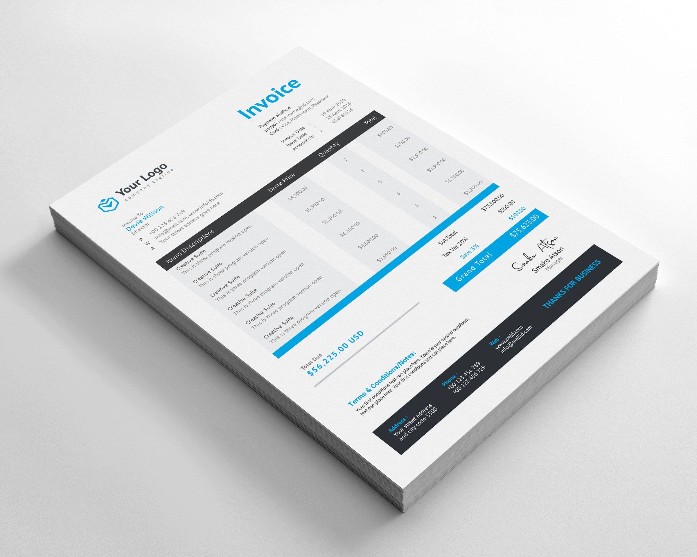 Invoice Design Modern Business Invoice Design Invoice Design