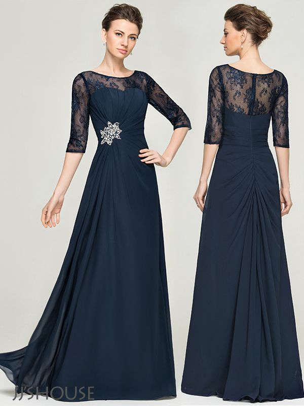 JJsHouse A-Line/Princess Scoop Neck Floor-Length Chiffon Lace Mother of the Bride Dress With Ruffle