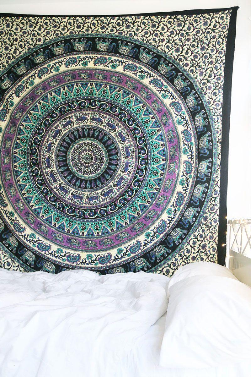 Blue multi elephants sun ombre mandala wall tapestry royalfurnish - Royal Plum And Bow Medallion Tapestry Hippie Mandala Wall Hanging On Royalfurnish Com