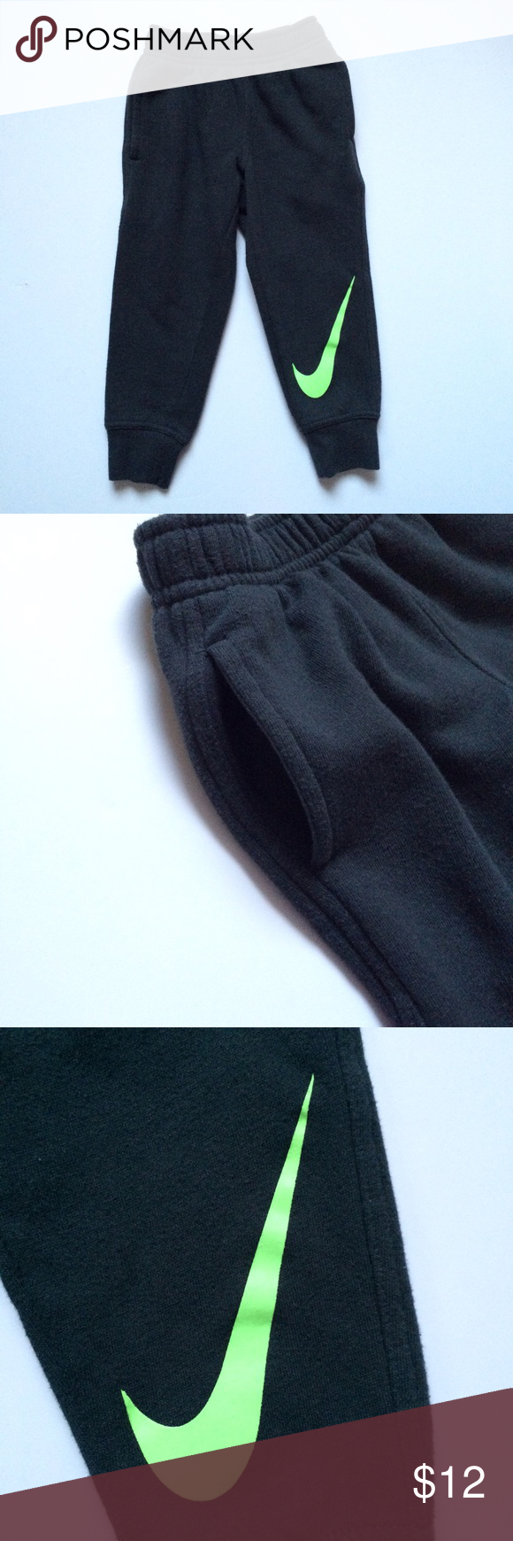 Nike Sweats Cute sweats/joggers! No cracking in logo! Dark gray with bright green logo. Minimal wash wear. Size is a 3T but run small. Best fit is 2T. Bottoms