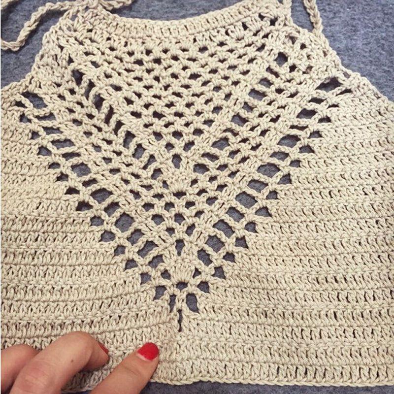 Fashion Women Halter Knitted Crop Top Crochet Beach Bikini Boho ...