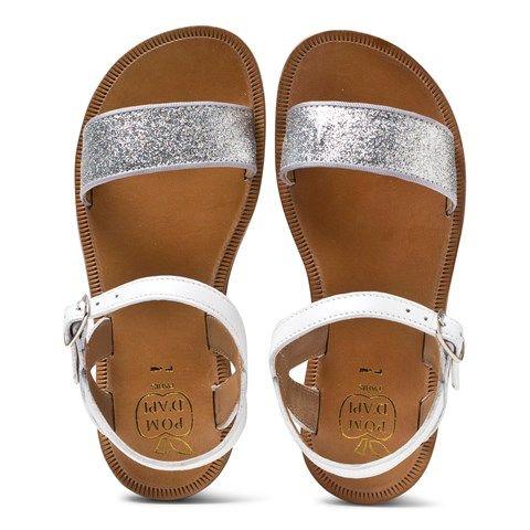 5f4465661381 Pom D Api Pom Dapi White Glitter Plagette Buckled Sandals