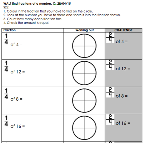 Fractions worksheets ks1