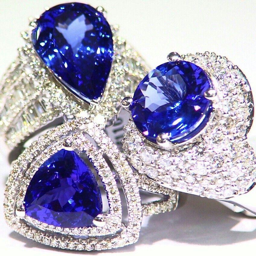 Tanzanite gold white diamond engagement ring set. Saltydogwalter