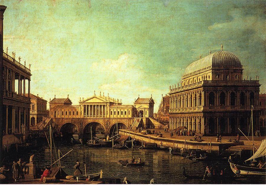 : Basilica di Vecenza and the Ponte de Rialto Artist: Canaletto