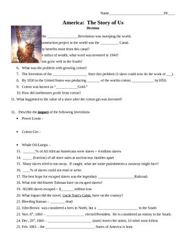 Video Study Guide For Episode 4 Division Of America The Story Us Movie Comes Complete With Answer Key Questions Follow Film In Same Order