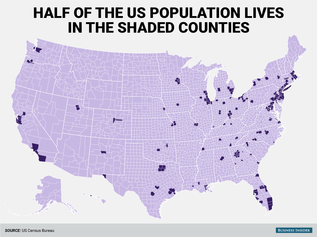 Half Of The Us Population Lives In The 244 Super Dense Counties World History Map World History Lessons Map