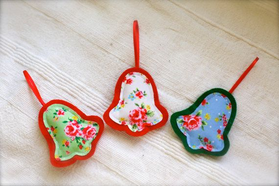 Handmade fabric and felt bell shaped Christmas by JouBelle on Etsy
