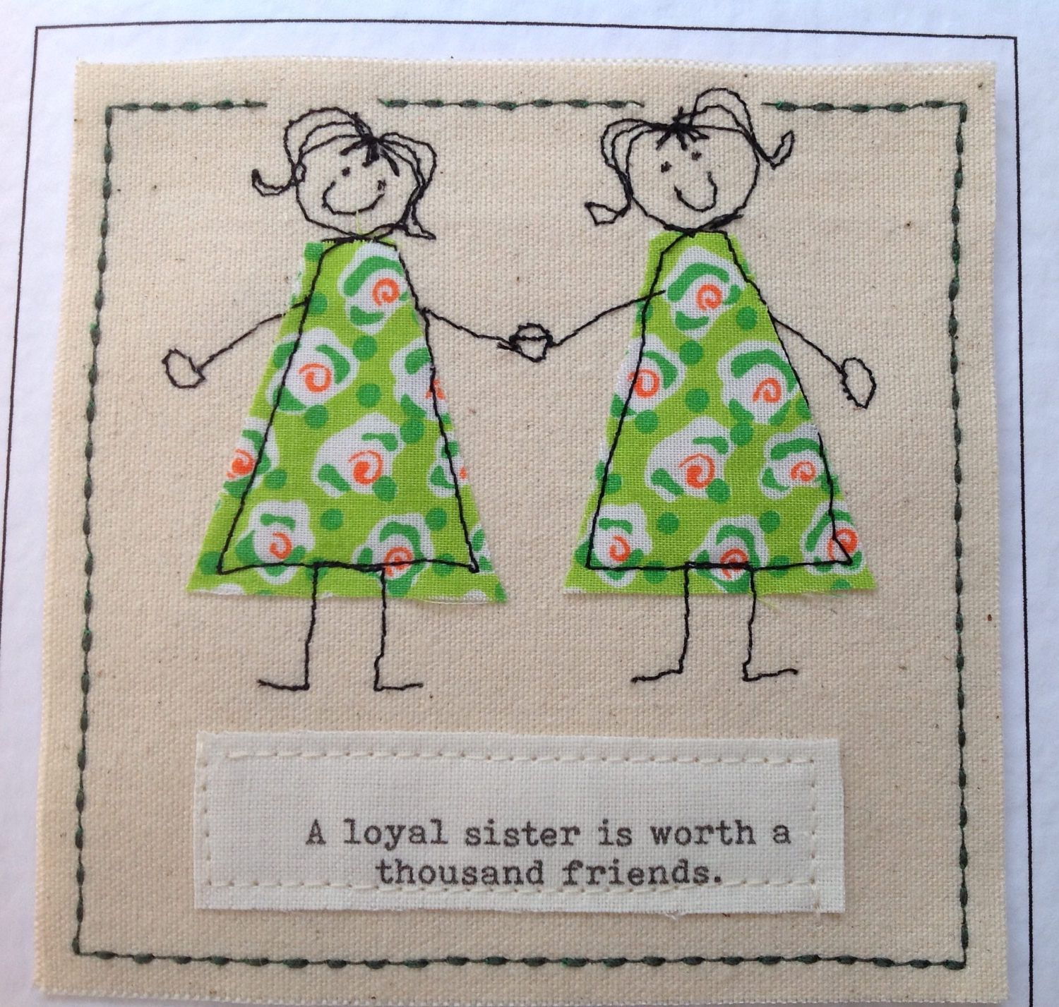 Handmade Sister Birthday Card With Special Quote Get Well Thank You Twin Your Words Printed Top Of By