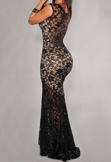 Black Sleeveless Sheer Lace Floor Length Dress