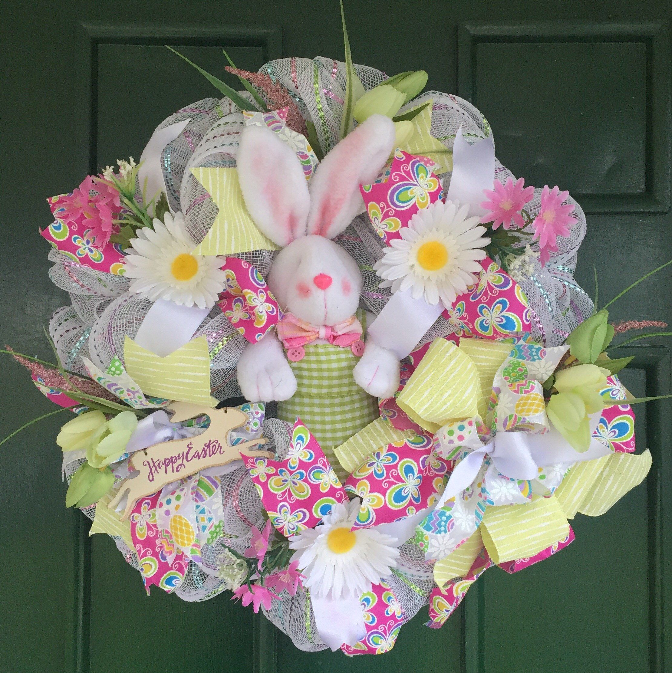 Sale pretty easter wreath with cute bunny spring flowers ribbons sale pretty easter wreath with cute bunny spring flowers ribbons and bow mightylinksfo