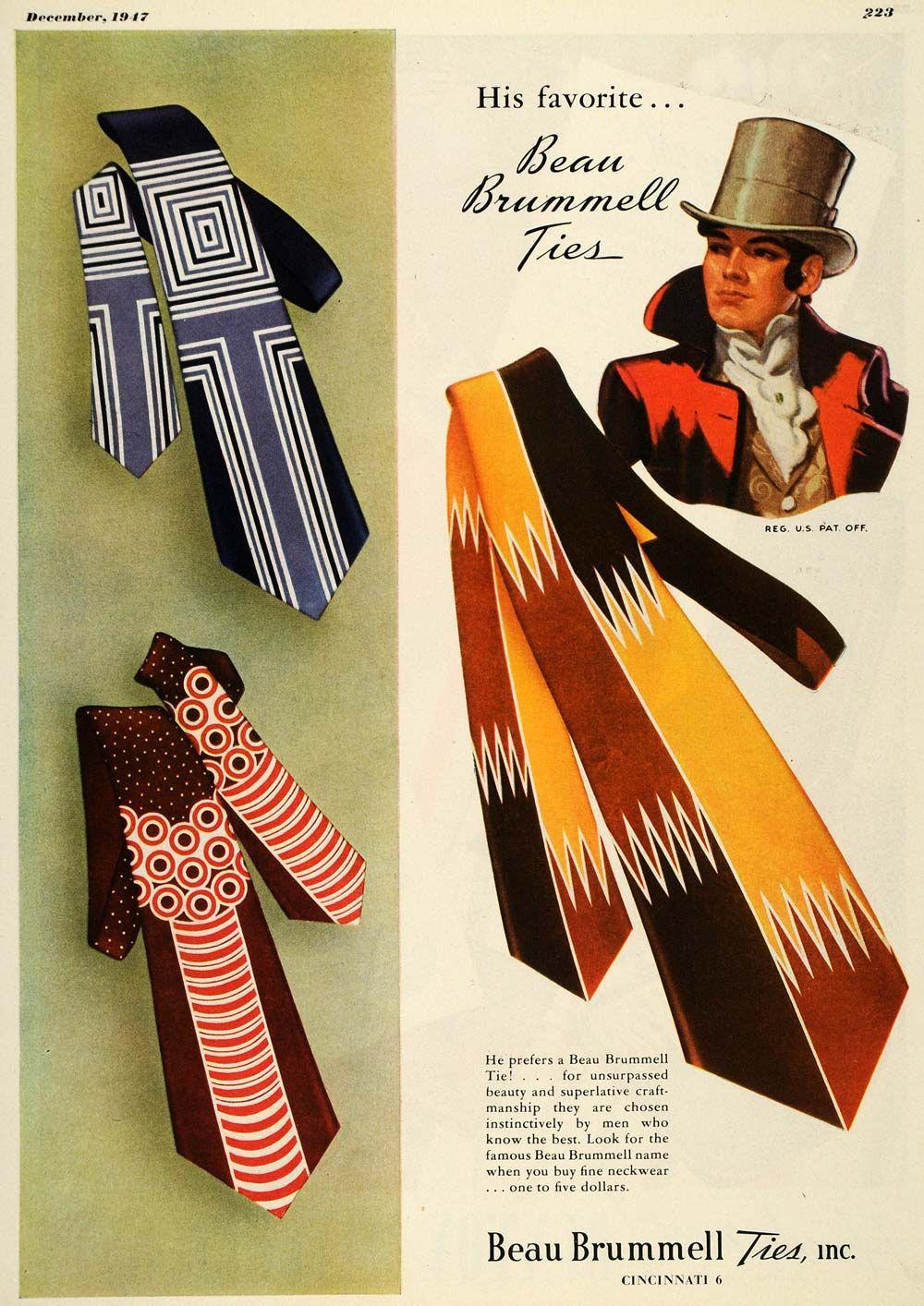 1947 Ad Beau Brummell Ties Cincinnati Ohio Fashion Men Original Advertising Vintage Mens Fashion Vintage Clothing Men Beau Brummell
