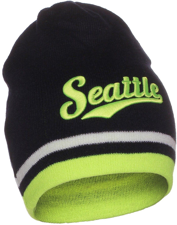 5414ca080 USA Sports City State Cuffless Beanie Knit Hat Cap - Seattle Navy ...