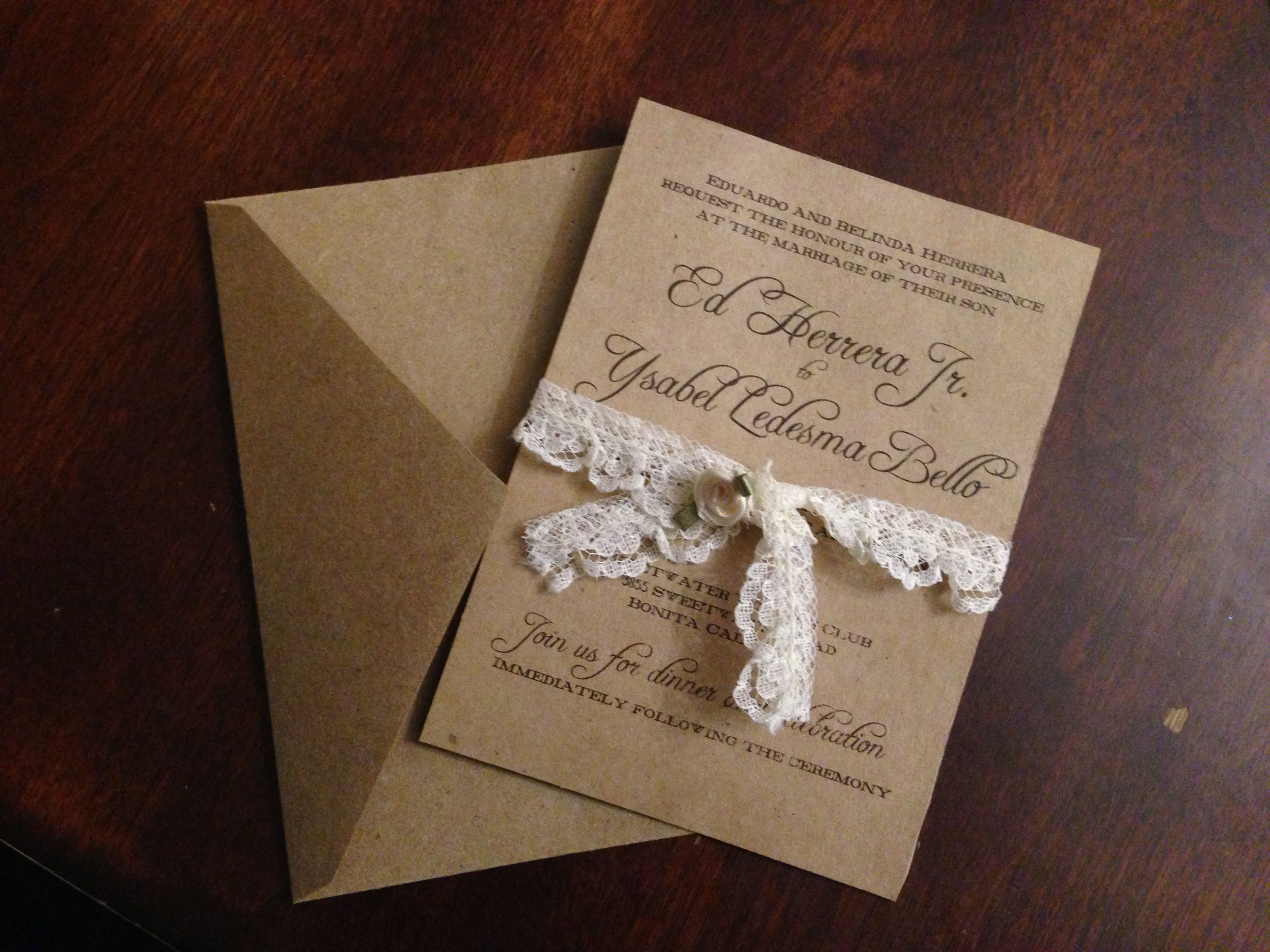 Handmade Rustic Wedding Invitation Supplies: Craft paper, craft ...